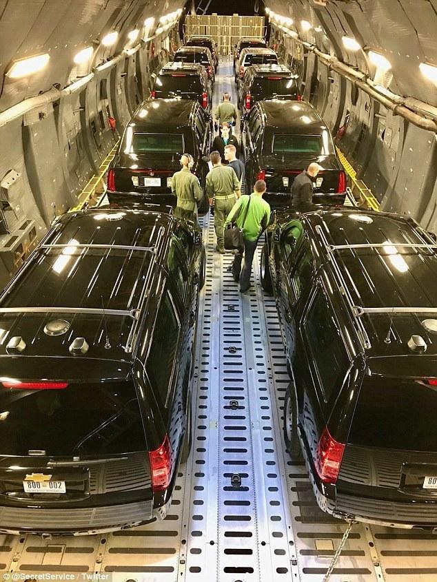 Bức ảnh đoàn xe hộ tống do Cơ quan Mật vụ Mỹ công bố. (Ảnh: Dailymail)