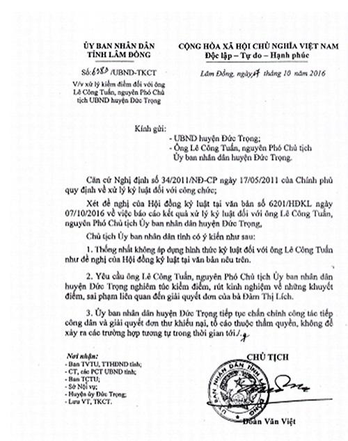 Văn bản số 6383/UBND – TKCT ngày 17/10/2016 về việc xử lý kiểm điểm đối với ông Lê Công Tuấn bằng hình thức nghiêm túc kiểm điểm, rút kinh nghiệm về khuyết điểm, sai phạm liên quan đến việc giải quyết đơn của bà Đàm Thị Lích.