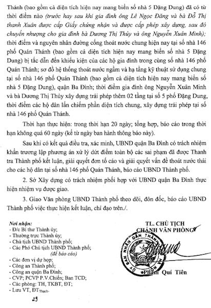 """Chủ tịch Hà Nội yêu cầu làm rõ những """"góc khuất"""" trong vụ 146 Quán Thánh."""