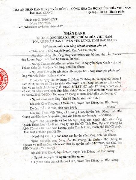 """Bắc Giang: Nhận đơn dân kiện, Tòa án huyện xử Ủy ban huyện thua """"trắng bụng""""! - 3"""