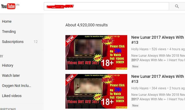 Nội dung xấu xuất hiện trên Youtube