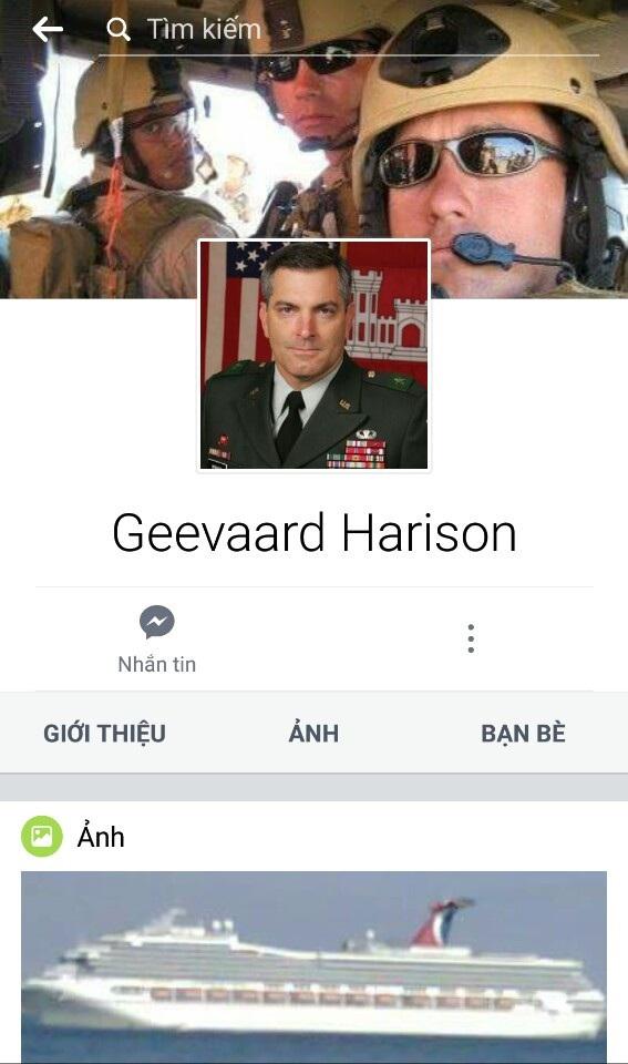 Tài khoản facebook tên Geevaard Harison bà N. quen và nói chuyện (ảnh chụp màn hình)