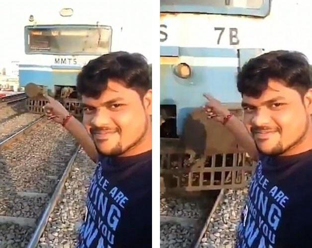 """Một người đàn ông """"thích thể hiện"""" đã quay lại hình ảnh chính mình bị tàu hỏa tông phải do anh này đã tính toán sai về khoảng cách giữa mình và đoàn tàu."""
