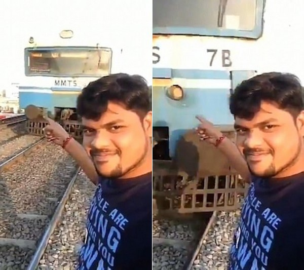 Shiva mỉm cười chỉ vào đoàn tàu đang chạy đến từ phía sau mình mà không biết tai nạn sắp xảy ra