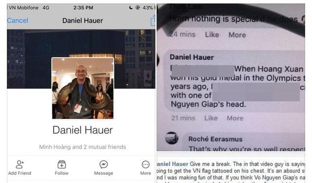 Bình luận thiếu văn hóa của Daniel trên mạng xã hội.