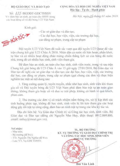 Công văn hỏa tốc của Bộ GD&ĐT nhắc nhở HSSV khi tham gia cổ vũ đội tuyển bóng đá U23 Việt Nam không có hành vi quá khích, phản cảm.