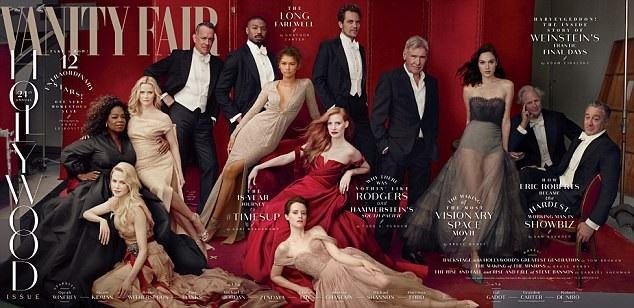 Bức ảnh khổ lớn của Vanity Fair có sự xuất hiện của các ngôi sao Nicole Kidman, Tom Hanks, Michael B. Jordan, Zendaya, Jessica Chastain, Claire Foy, Michael Shannon, Harrison Ford, Gal Gadot, biên tập viên của Vanity Fair - Graydon Carter và Robert De Niro (từ trái sang phải).