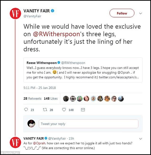 """Thông qua tài khoản mạng xã hội chính thức của mình, phía tạp chí Vanity Fair đã xử lý tình huống khá khéo khi họ thừa nhận lỗi sai với """"bàn tay thứ ba"""" của Oprah rằng: """"Với Oprah, làm sao chúng ta có thể tin bà ấy xoay xở được mọi việc với chỉ hai bàn tay? (Chúng tôi sẽ sửa lỗi sai này trong ấn bản điện tử)"""". Đối với """"cẳng chân thứ ba"""" của Reese, Vanity Fair nói đó thực ra chỉ là nếp gấp của tà váy."""