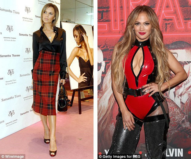 """Những đáng vóc gày gò, """"mình hạc xương mai"""" kiểu như cựu thành viên nhóm Spice Girls - Victoria Beckham (trái) - đã không còn là điều tất cả phụ nữ cùng hướng đến; ngược lại, những cơ thể săn chắc nhưng vẫn """"nở nang"""" như kiểu nữ ca sĩ Jennifer Lopez (phải) trở thành mục tiêu hướng đến của nhiều chị em."""