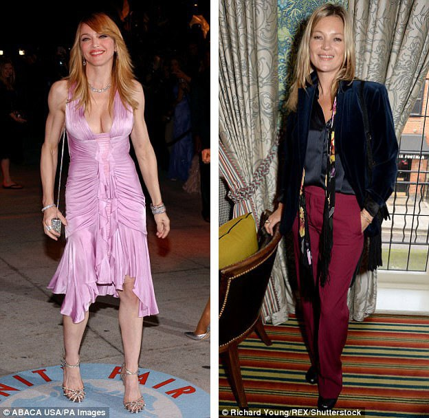"""Người mẫu Kate Moss (phải) từng làm thay đổi chuẩn đẹp hình thể phụ nữ khi cô trở thành ngôi sao trên sàn catwalk hồi thập niên 1990 với một thân hình gày gò """"mình dây""""; dù vậy, giờ đây, các ngôi sao nữ, như Madonna (trái), đều chú trọng việc luyện tập để sở hữu cơ thể gọn gàng, khỏe mạnh, cho thấy phong cách sống tích cực, đề cao sự khỏe khoắn."""