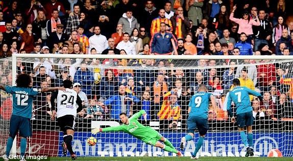 C.Ronaldo ghi hai bàn trong hiệp 1 trên chấm phạt đền
