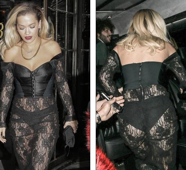 Rita Ora diện váy phô nội y dự tiệc tối ngày 29/1 vừa qua