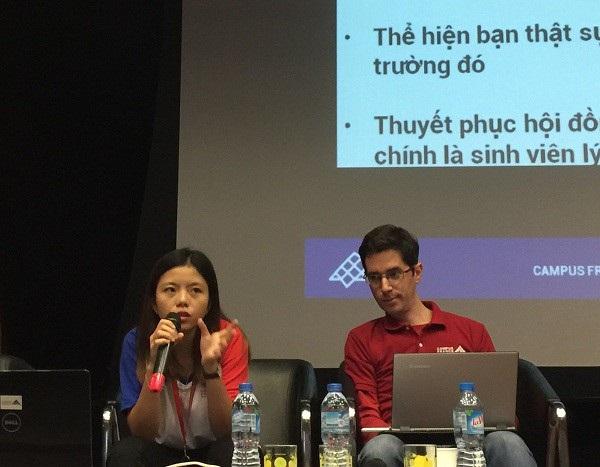 Diễn giả Mỹ Linh (trái) - tốt nghiệp đại học Montepellier, Pháp.