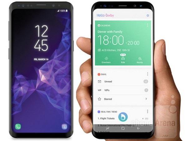 So sánh Galaxy S9 (trái) và Galaxy S8 (phải) cho thấy 2 sản phẩm không quá khác biệt trong thiết kế