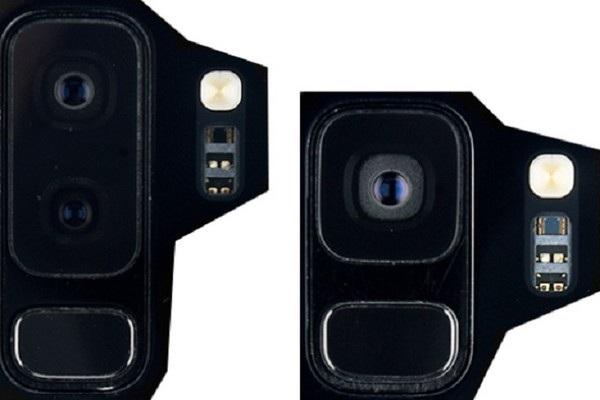 Linh kiện của cụm camera kép và cảm biến vân tay của Galaxy S9+ (trái) và camera đơn trên Galaxy S9