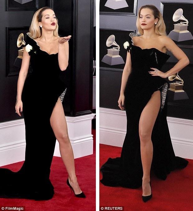 """Váy xẻ cao """"bất tận"""" của Rita Ora trên thảm đỏ Grammy 2018 - 16"""