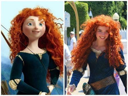 """Công chúa Merida của """"Brave"""" ở ngoài đời cũng hết sức xinh đẹp và dĩ nhiên là không thể thiếu mái tóc xù ấn tượng"""