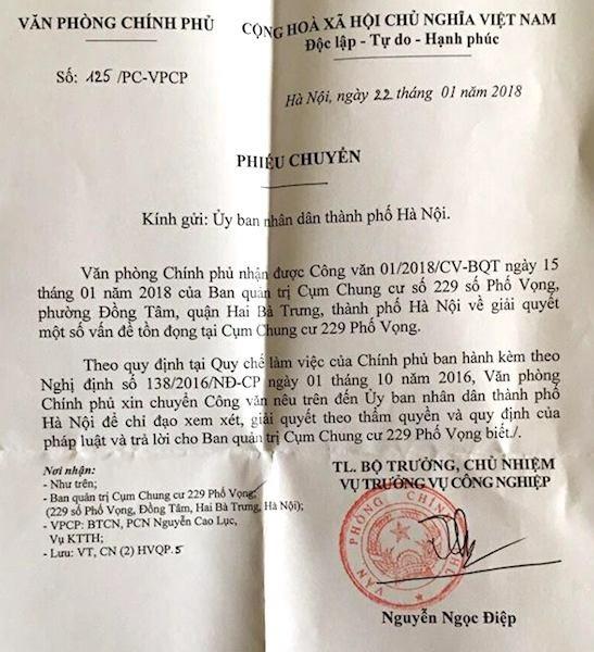 Văn phòng Chính phủ chuyển công văn vụ cư dân 229 phố Vọng khẩn thiết kêu cứu.