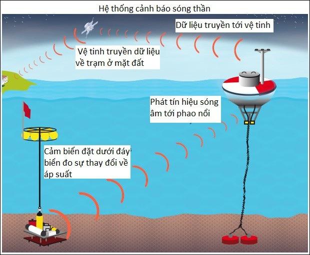 Hệ thống cảnh báo sóng thần bằng cảm biến, phao nổi và vệ tinh (Nguồn: ABC News)