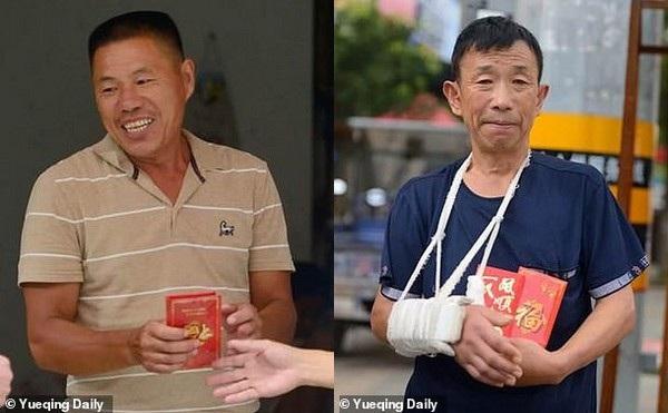 Dinh Jicai (trái) và Yuan Runsheng (phải), những người đã đón bắt em bé bị rơi từ tầng 4 xuống đất