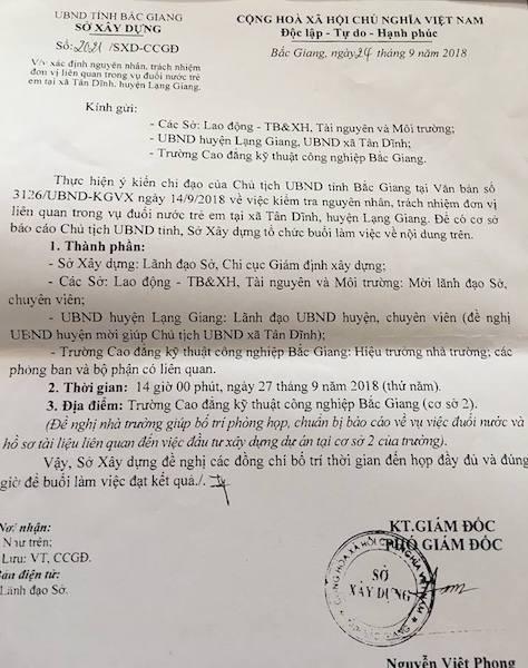 Chủ tịch UBND tỉnh Bắc Giang có văn bản yêu cầu làm rõ sự việc.