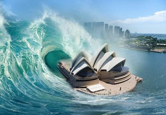 Các chuyên gia cảnh báo Úc có thể bị ảnh hưởng bởi một cơn sóng thần cao tới 60 m tấn công khu vực nội địa cách bờ biển 50 km bất cứ lúc nào. Ảnh: Daily Mail