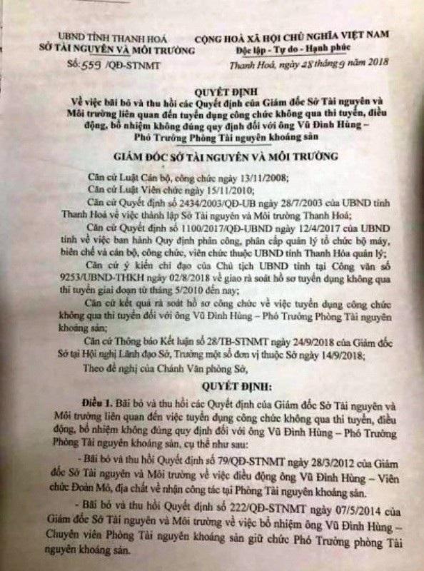 Quyết định số 559 về việc bãi bỏ và thu hồi các Quyết định liên quan đến tuyển công chức không qua thi tuyển đối với ông Vũ Đình Hùng.