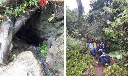 Hang đá tại xã Thần Sa nơi 3 người gặp nạn.