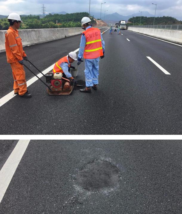 Đơn vị quản lý và khai thác đường cao tốc thực hiện sửa chữa, trám vá tạm thời các vị trí mặt đường hư hỏng để đảm bảo an toàn giao thông