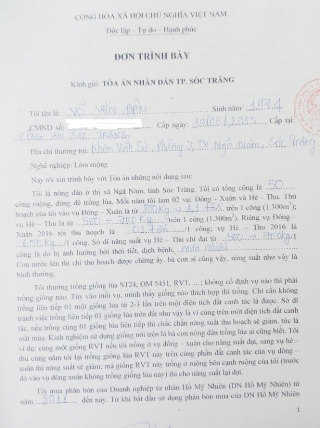 Bất ngờ với những lá đơn và bản lấy lời khai của nông dân tại Sóc Trăng! - 2