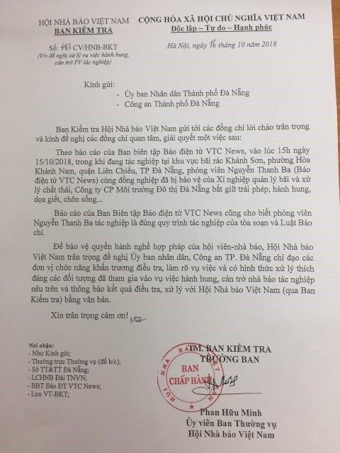 Văn bản của Ban Kiểm tra Hội Nhà báo Việt Nam gửi UBND TP Đà Nẵng và Công an Đà Nẵng đề nghị làm rõ vụ việc phóng viên Báo điện tử VTCNews bị doạ giết.