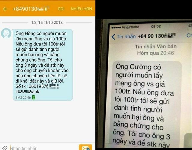 Tin nhắn được gửi đến cho Phó Chánh Văn phòng Đoàn ĐBQH tỉnh Quảng Bình và Chánh Văn phòng Đoàn ĐBQH tỉnh Quảng Trị.