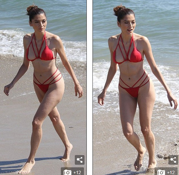 Người đẹp 37 tuổi diện áo tắm đỏ rực cắt xẻ táo bạo