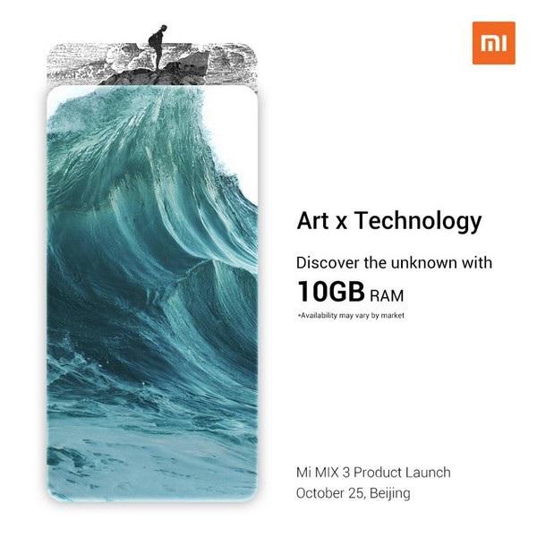 Hình ảnh tiết lộ Mi Mix 3 sẽ sở hữu bộ nhớ RAM 10GB