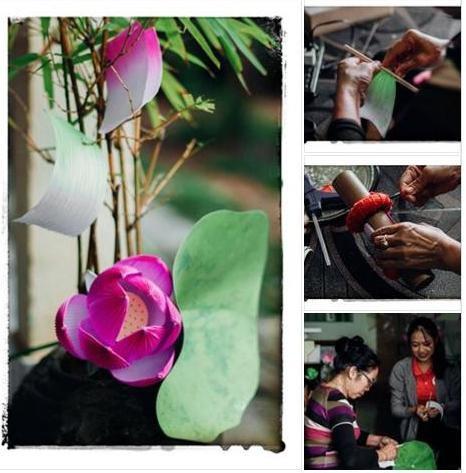 Trải nghiệm Creative Tourism làm hoa sen giấy