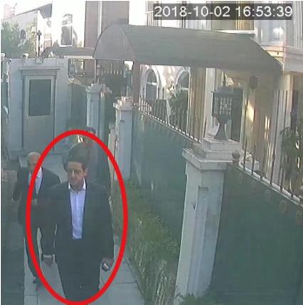 Mutreb xuất hiện bên ngoài nơi ở của tổng lãnh sự Ả rập Xê út tại Istanbul. (Ảnh: SCMP)