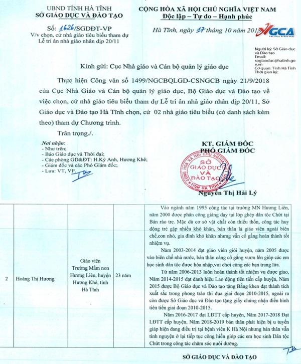 Văn bản Sở GD&ĐT tỉnh Hà Tĩnh gửi Cục Nhà giáo và Cán bộ quản lí giáo dục hôm 17/10.