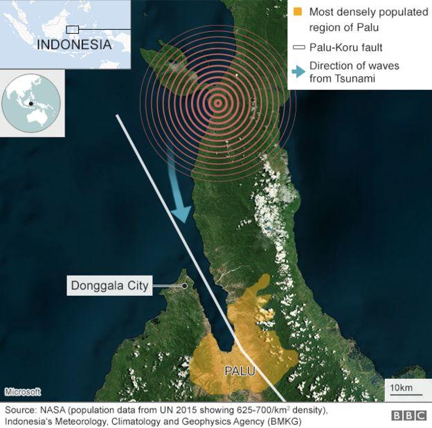 Địa điểm hứng chịu sóng thần nằm ở vị trí hẹp, sâu trong vịnh khiến cường độ sóng thần trở nên rất mạnh (Đồ họa: BBC)