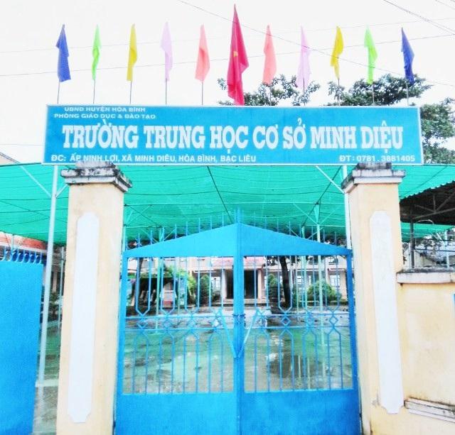 Trường THCS Minh Diệu, nơi bà Hiệu trưởng Nguyễn Thị Hoa bị tố đã làm trái quy định nhà nước.