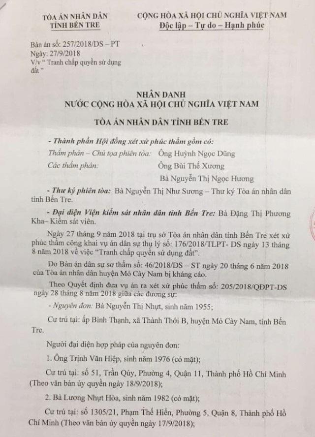 TAND tỉnh Bến Tre tuyên huỷ án bản án vi phạm tố tụng của TAND huyện Mỏ Cày Nam! - 3