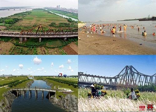 Trong khi các dự án bất động sản đang được bàn thảo thì bãi Giữa Sông Hồng đã là bãi tắm, nơi tập chạy, đi xe đạp dã ngoại với khung cảnh hấp dẫn
