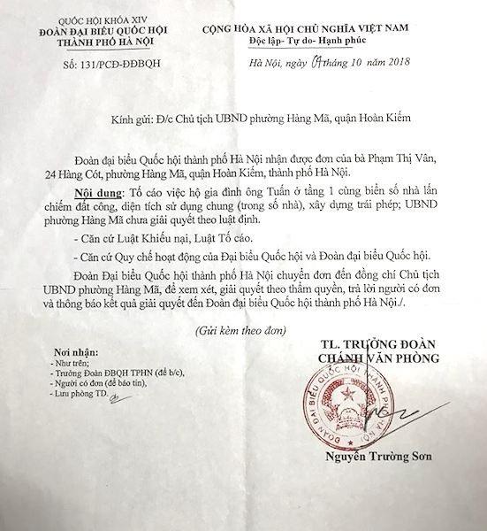 Đoàn đại biểu Quốc hội TP Hà Nội đề nghị Chủ tịch phường Hàng Mã giải quyết đơn thư công dân - Ảnh 1.