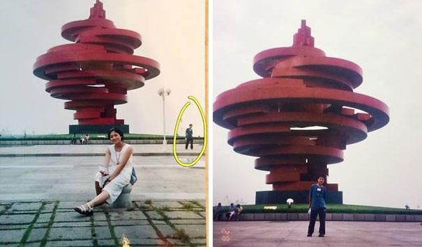 Một cặp đã kết hôn phát hiện ra họ từng xuất hiện tại cùng một nơi ở Trung Quốc để chụp ảnh, thậm chí lọt chung vào một khung hình.
