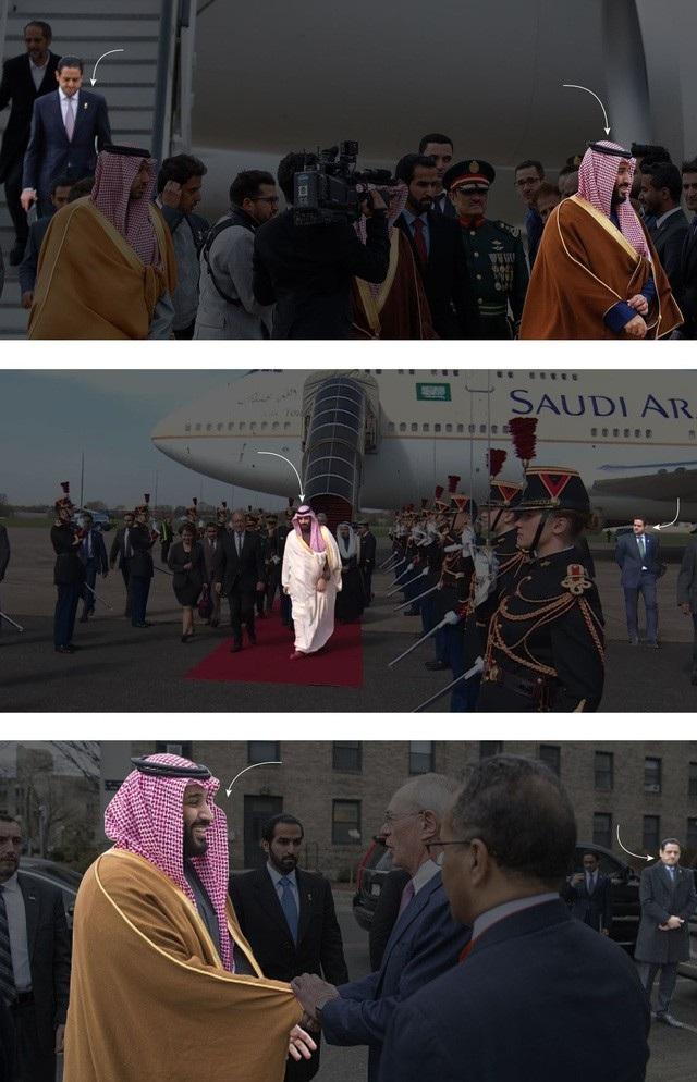 Maher Abdulaziz Mutreb (áo vest), một trong số 15 đặc vụ Ả rập Xê út nằm trong diện nghi vấn của Thổ Nhĩ Kỳ, thường xuyên được nhìn thấy tháp tùng Thái tử Mohammed bin Salman trong các chuyến công du. (Ảnh: New York Times)