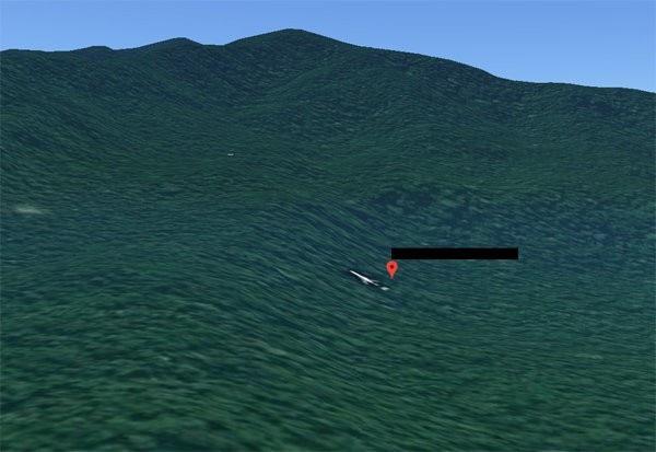 Hình ảnh được cho là máy bay MH370 trên bản đồ (Ảnh: Google)