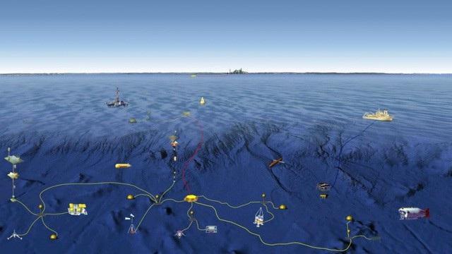 Đồ họa mô phỏng một hệ thống quan trắc đáy biển của Trung Quốc (Ảnh: SCMP)