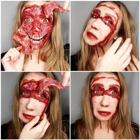 Người xem kinh ngạc khi Julia tự tay bóc da mặt rồi gắn lại như cũ