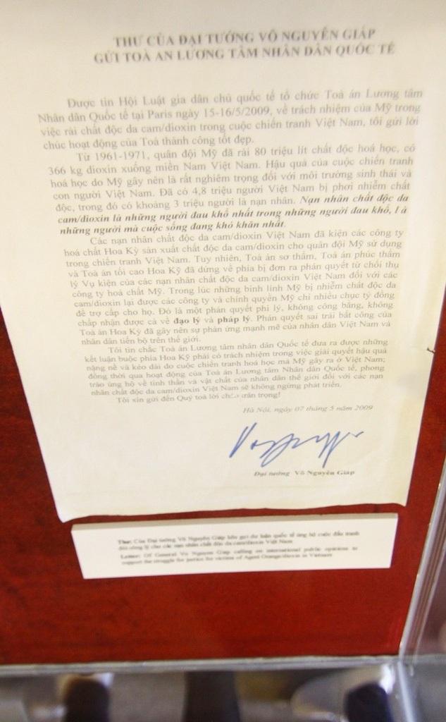 Thư của cố Đại tướng Võ Nguyên Giáp kêu gọi dư luận quốc tế ủng hộ cuộc đấu tranh đòi công lý cho các nạn nhân chất độc da cam/đioxin tại Việt Nam