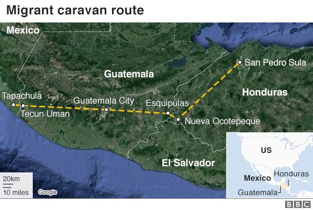 Bản đồ hành trình di chuyển của đoàn người tị nạn (màu vàng). (Nguồn: BBC)