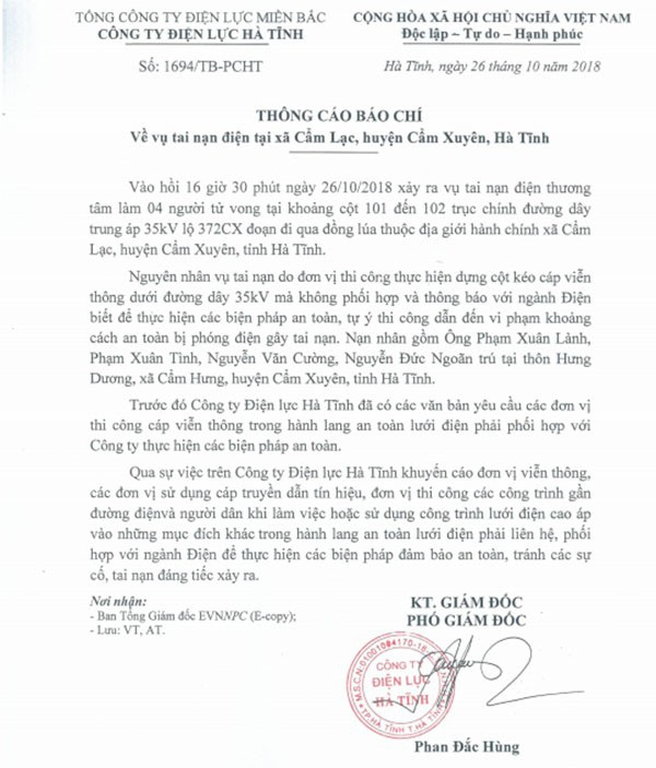 Thông cáo báo chí của Điện lực Hà Tĩnh về vụ tai nạn điện ở xã Cẩm Lạc, huyện Cẩm Xuyên.